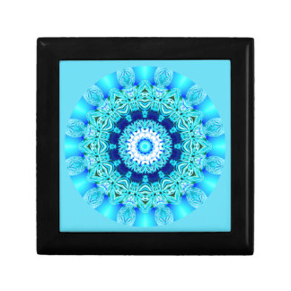 Blue Ice Lace Mandala, Abstract Aqua Gift Box