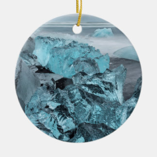 Blue ice on beach seascape, Iceland Round Ceramic Decoration