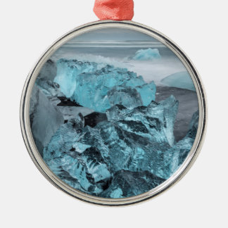 Blue ice on beach seascape, Iceland Silver-Colored Round Decoration