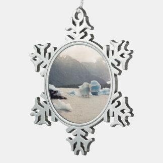 Blue Ice Pewter Snowflake Decoration