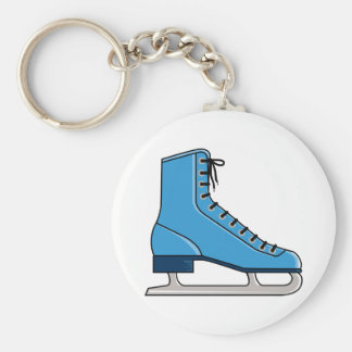Blue Ice Skate Basic Round Button Key Ring