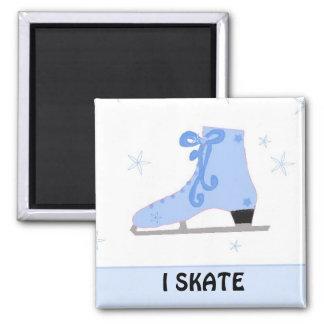 Blue Ice Skate - I Skate Fridge Magnet