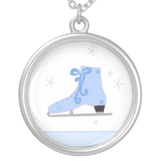 Blue Ice Skate Silver Plated Necklace