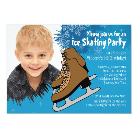 Blue Ice Skating Party Invitation
