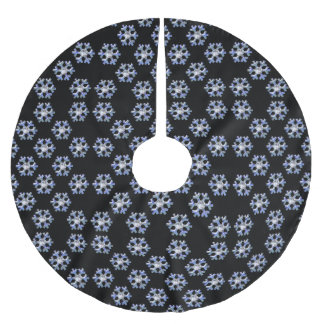 Blue Ice Snowflakes & Diamond Sparkle Brushed Polyester Tree Skirt