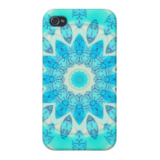 Blue Ice Star, Abstract Aqua Turquoise Mandala Covers For iPhone 4