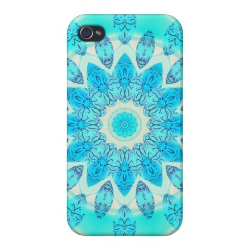 Blue Ice Star, Abstract Aqua Turquoise Mandala Cover For iPhone 4