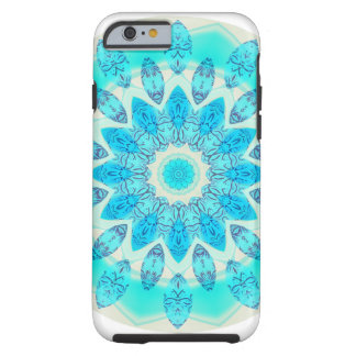 Blue Ice Star Mandala, Abstract Aqua Joyful Light Tough iPhone 6 Case