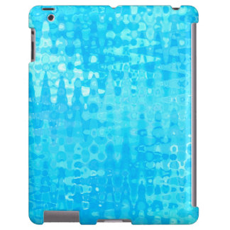 Blue Ice Water Bubbles Zigzags Organic Art Pattern iPad Case