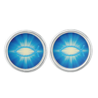Blue Ichthus Christian Symbol Cuff Links