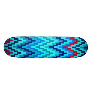 Blue Ikat Chevron Geometric Zig Zag Stripe Pattern Custom Skateboard
