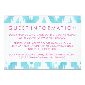 Blue Ikat Guest Information Card
