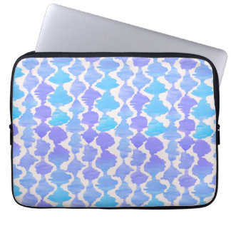 Blue Ikat Watercolor Ikat Pattern Laptop Sleeve