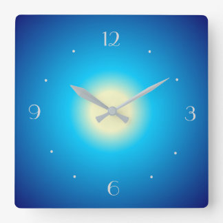 Blue Illuminated with lemon Centre> Plain Clock