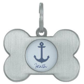 Blue Image of Metallic Anchor Pet Name Tag