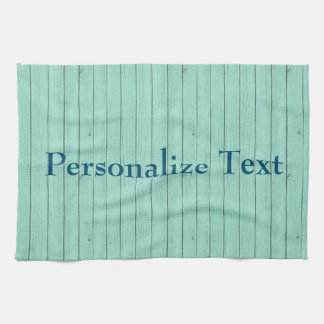 Blue Image of Wood Personalize Tea Towel
