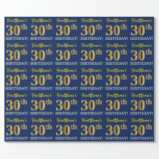 "Blue, Imitation Gold Look ""30th BIRTHDAY"" Wrapping Paper"