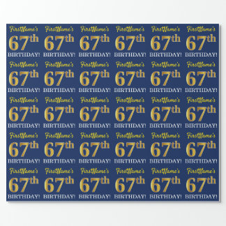 """Blue, Imitation Gold Look """"67th BIRTHDAY"""" Wrapping Paper"""