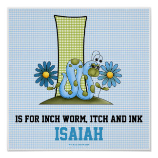 "Blue Inch Worm Monogram ""I"" Baby Room Poster"