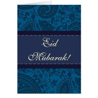 Blue Indian damask Eid Mubarak Greeting Card
