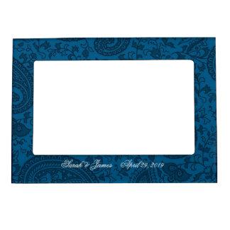 Blue indian  damask picture frame magnet