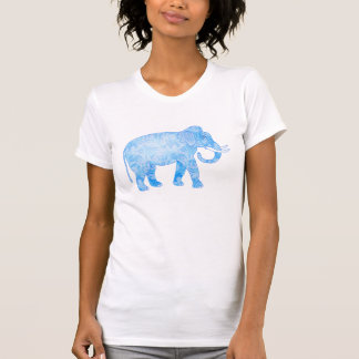 Blue Indian Elephant with Fancy Pattern T-shirts