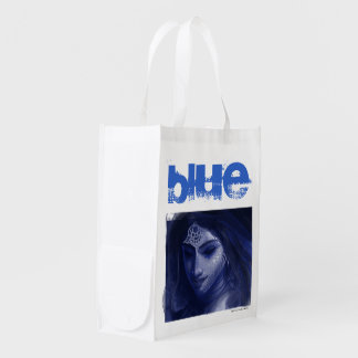 blue indian lady reusable grocery bag