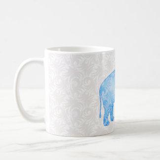 Blue Indian Pattern Elephant Basic White Mug
