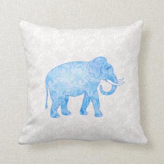 Blue Indian Pattern Elephant Throw Pillow