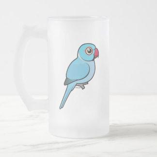 Blue Indian Ringneck 16 Oz Frosted Glass Beer Mug