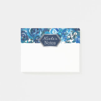 Blue Indigo Floral Flowers Elegant Chic Wedding Post-it Notes