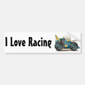 Blue Indy Race Car I Love Racing Bumper Sticker Car Bumper Sticker