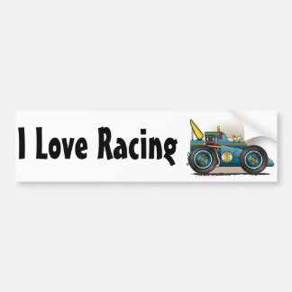 Blue Indy Race Car I Love Racing Bumper Sticker