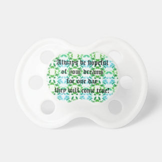 Blue Infinity Rose Pattern / Inspirational Saying Pacifiers