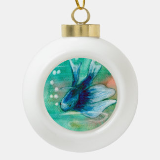 Blue Inky Betta Fish Ceramic Ball Christmas Ornament