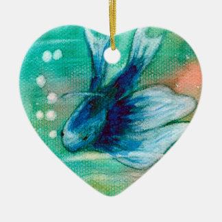 Blue Inky Betta Fish Ceramic Heart Decoration