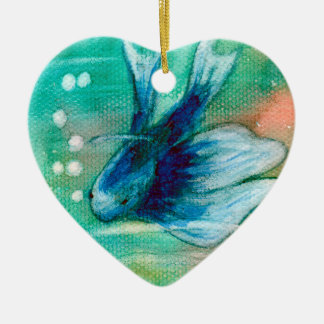 Blue Inky Betta Fish Christmas Ornament