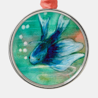 Blue Inky Betta Fish Silver-Colored Round Decoration
