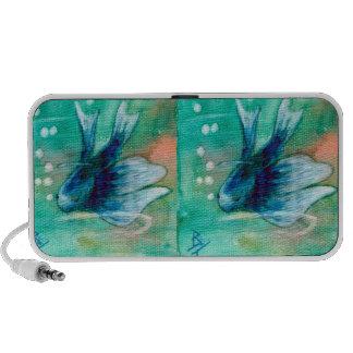 Blue Inky Betta Fish iPhone Speaker