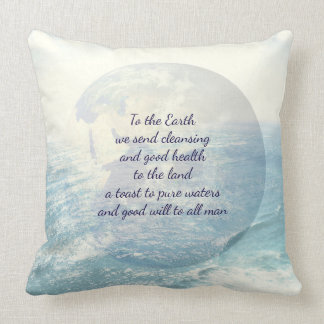 Blue Inspirational Earth blessing Cushion