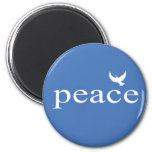Blue Inspirational Peace Quote 6 Cm Round Magnet