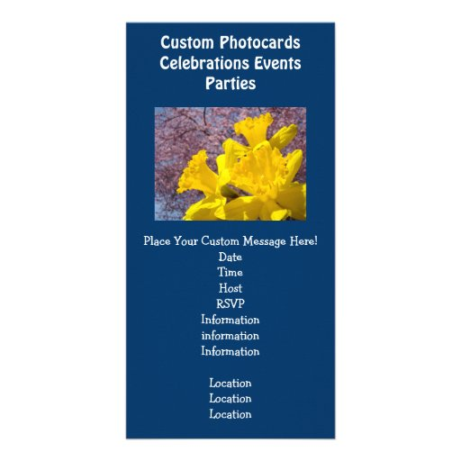 Blue Invitations Photocards Events Daffodils Photo Card