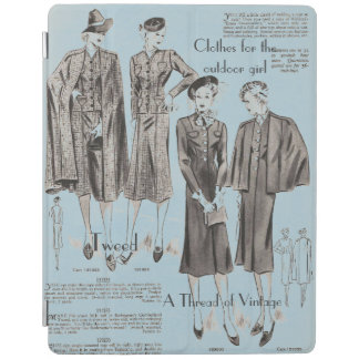 Blue iPad cover - vintage fashion feel