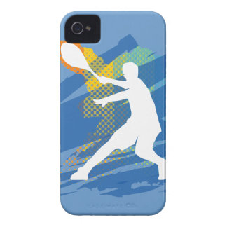 Blue iphone case gift with tennis player for men iPhone 4 Case-Mate case