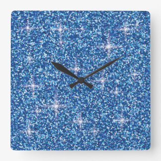 Blue iridescent glitter square wall clock