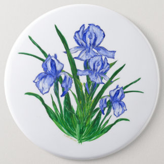 Blue Iris 6 Cm Round Badge