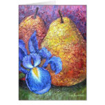Blue Iris And Fruit Pear Painting Art - Multi Greeting Cards