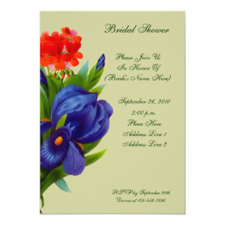 Blue Iris Bouquet Floral Bridal Shower Invite