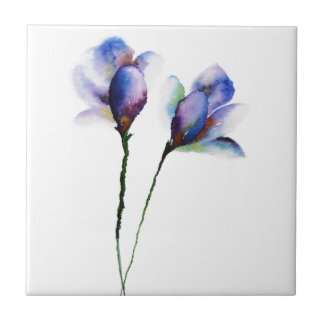 Blue Iris by Maria Moss Small Square Tile
