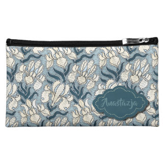 Blue Iris Design with Custom Name or Text Makeup Bag